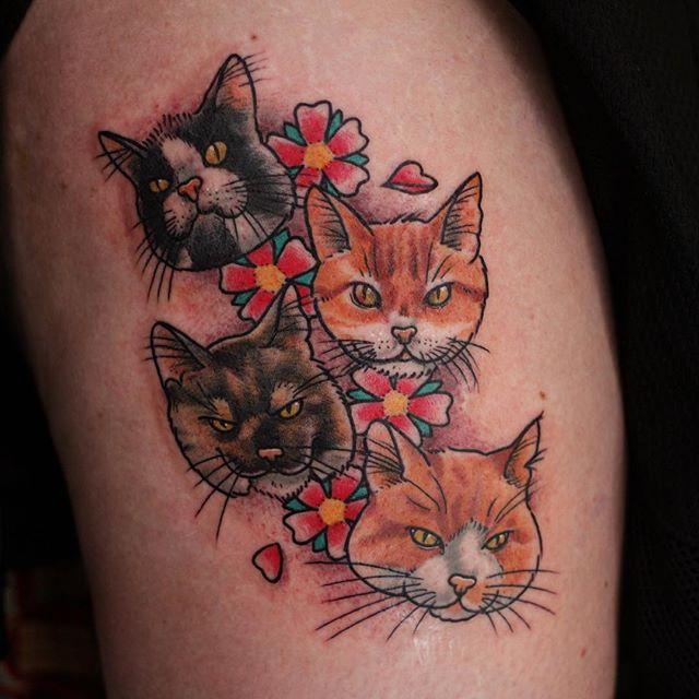 Thnxs Simone! #tattoo #tattoos #cats #cattattoo #bright_and_bold #magictattoostudio #utrecht